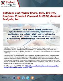Ball Race Mill Market Share, Size, Growth, Analysis, Trends 2016
