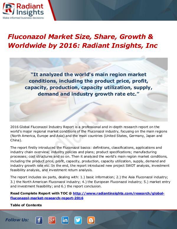 Fluconazol Market Size, Share, Growth & Worldwide by 2016 Fluconazol Market 2016