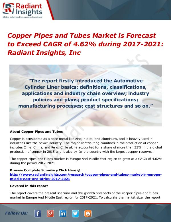 Copper Pipes and Tubes Market is Forecast to Exceed CAGR of 4.62% Copper Pipes and Tubes Market 2017-2021