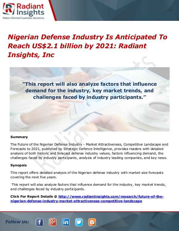 Nigerian Defense Industry Is Anticipated To Reach US$2.1 billion by Nigerian Defense Industry 2021