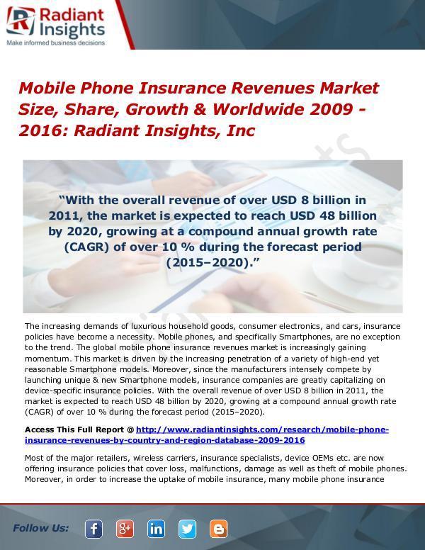 Mobile Phone Insurance Revenues Market Size, Share, Growth Mobile Phone Insurance Revenues Market 2009 - 2016