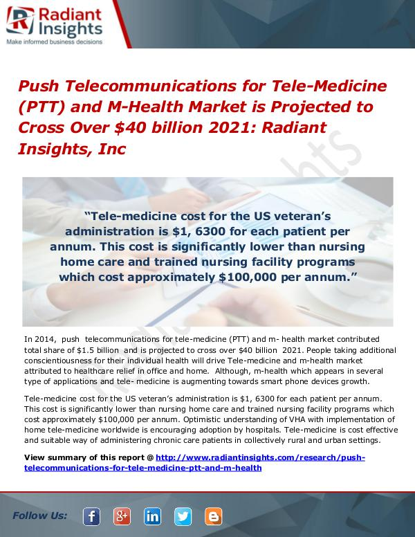 Push Telecommunications for Tele-Medicine (PTT) and M-Health Market Push Telecommunications for Tele-Medicine and M-He