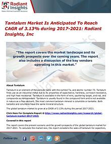 Tantalum Market is Anticipated to Reach CAGR of 3.13% During 2021