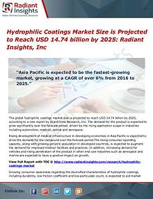 Hydrophilic Coatings Market Size is Projected to Reach USD 14.74