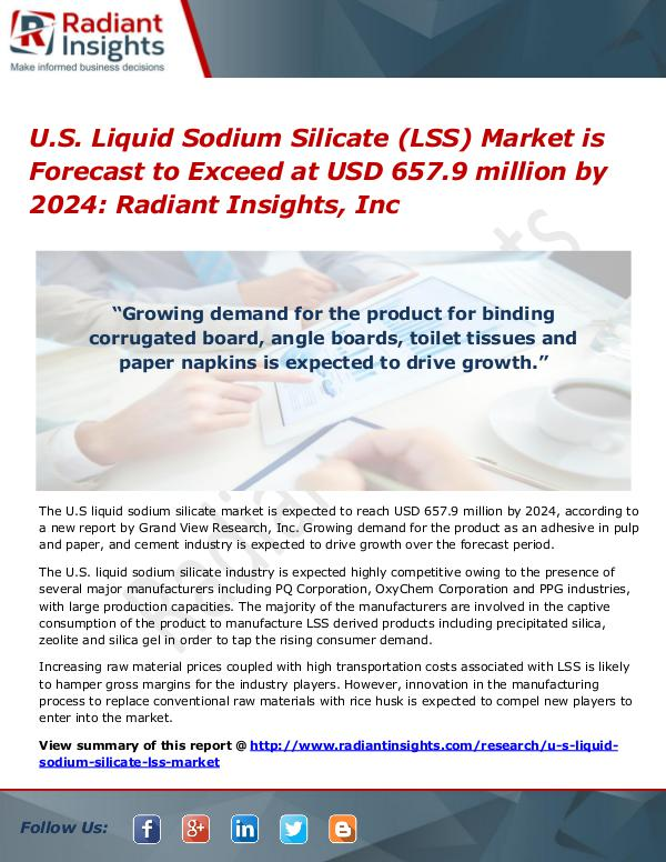 U.S. Liquid Sodium Silicate (LSS) Market is Forecast to Exceed at USD U.S. Liquid Sodium Silicate (LSS) Market 2024