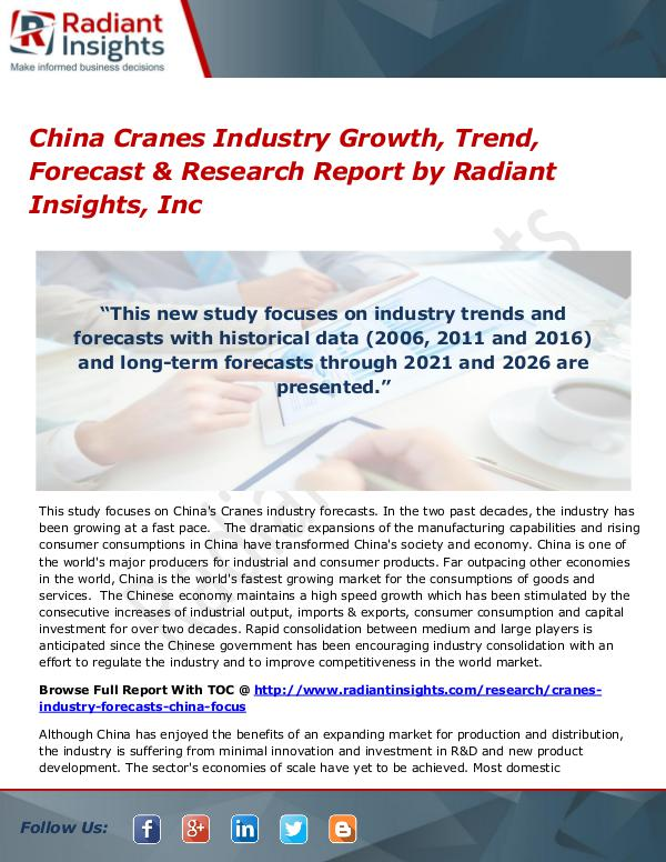 China Cranes Industry Growth, Trend, Forecast & Research Report China Cranes Industry