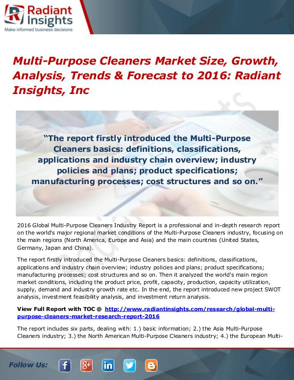 Multi-Purpose Cleaners Market  Size, Share & Growth by 2016 Multi-Purpose Cleaners Market 2016