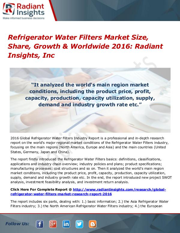 Refrigerator Water Filters Market Size, Share, Growth & Worldwide2016 Refrigerator Water Filters Market 2016