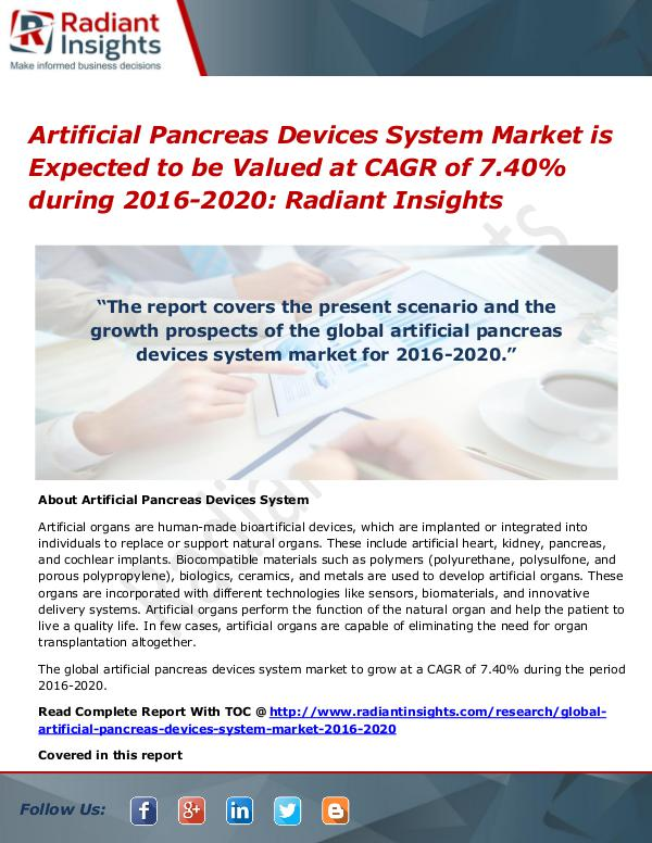 Artificial Pancreas Devices System Market Artificial Pancreas Devices System Market2016-2020