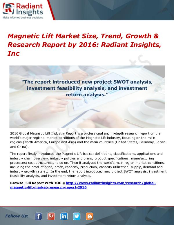 Magnetic Lift Market Size, Trend, Growth & Research Report by 2016 Magnetic Lift Market 2016