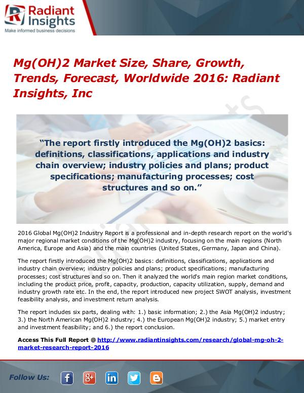 Mg(OH)2 Market Size, Share, Growth, Trends, Forecast, Worldwide 2016 Mg(OH)2 Market 2016