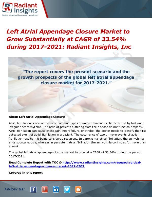 Left Atrial Appendage Closure Market to Grow Substantially at CAGR Left Atrial Appendage Closure Market 2017-2021