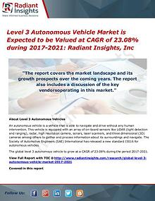 Level 3 Autonomous Vehicle Market is Expected to Be Valued at CAGR