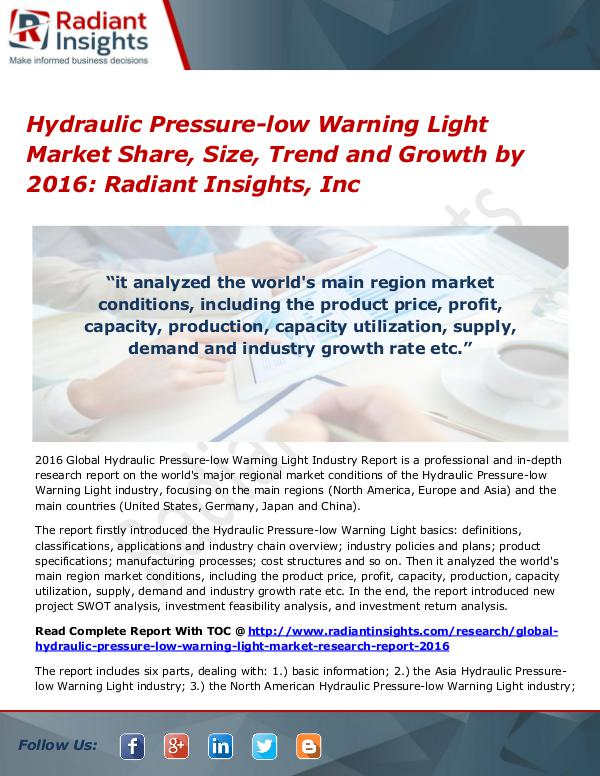 Hydraulic Pressure-low Warning Light Market Share, Size, Trend Hydraulic Pressure-low Warning Light Market 2016