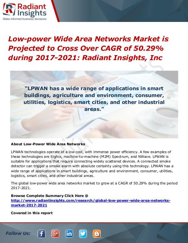 Low-power Wide Area Networks Market is Projected to Cross Over CAGR Low-power Wide Area Networks Market 2017-2021