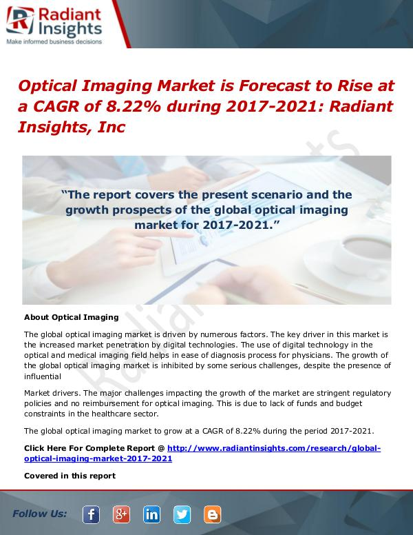 Automotive Brake-By-Wire Systems Market is Expected to Exceed CAGR of Optical Imaging Market 2017- 2021
