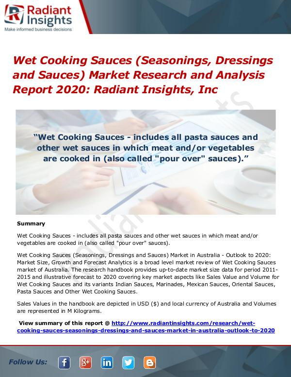 Wet Cooking Sauces (Seasonings, Dressings and Sauces) Market Research Wet Cooking Sauces Market 2020