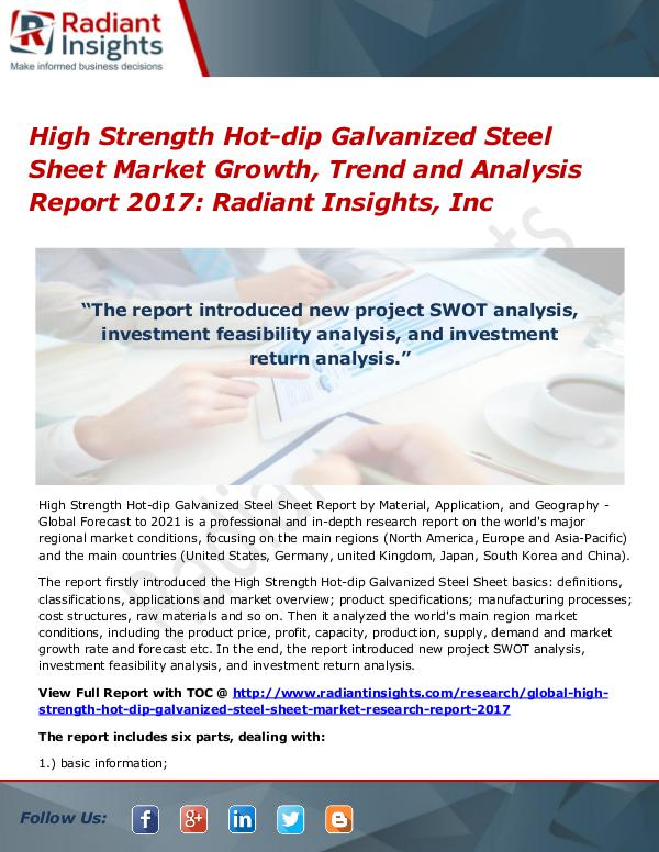 High Strength Hot-dip Galvanized Steel Sheet Market Growth Trend 2017 High Strength Hot-dip Galvanized Steel Sheet Marke