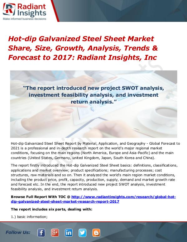 Hot-dip Galvanized Steel Sheet Market Share, Size, Growth, Analysis Hot-dip Galvanized Steel Sheet Market 2017