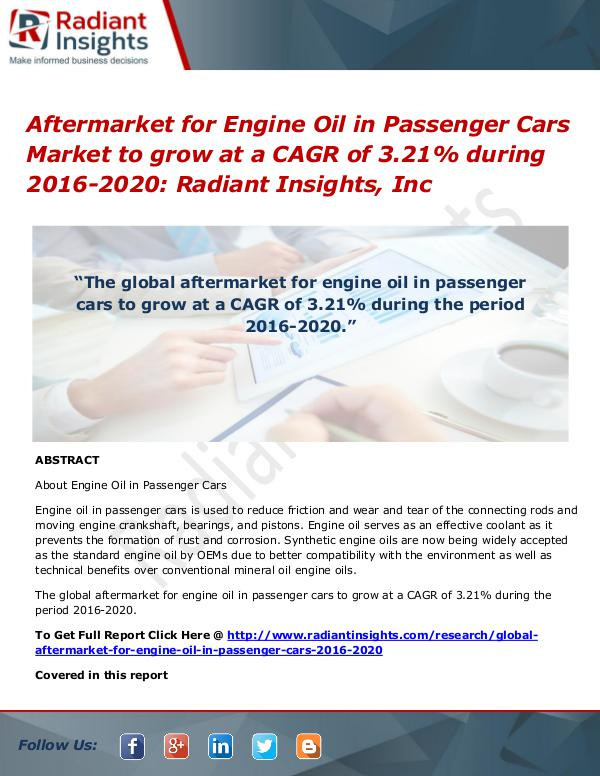 Aftermarket for Engine Oil in Passenger Cars Market to Grow at a Aftermarket for Engine Oil in Passenger Cars Marke