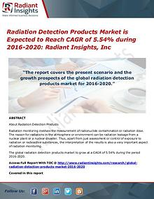 Radiation Detection Products Market is Expected to Reach CAGR of 5.54