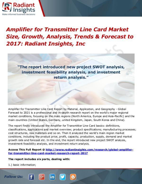 Amplifier for Transmitter Line Card Market Size, Growth, Analysis Amplifier for Transmitter Line Card Market 2017