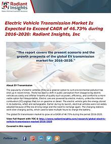 Electric Vehicle Transmission Market is Expected to Exceed CAGR of 46
