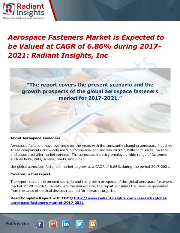 Aerospace Fasteners Market is Expected to Be Valued at CAGR of 6.86% Aerospace Fasteners Market 2017-2021