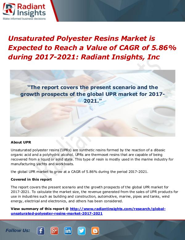 Unsaturated Polyester Resins Market is Expected to Reach a Value of Unsaturated Polyester Resins Market 2017-2021