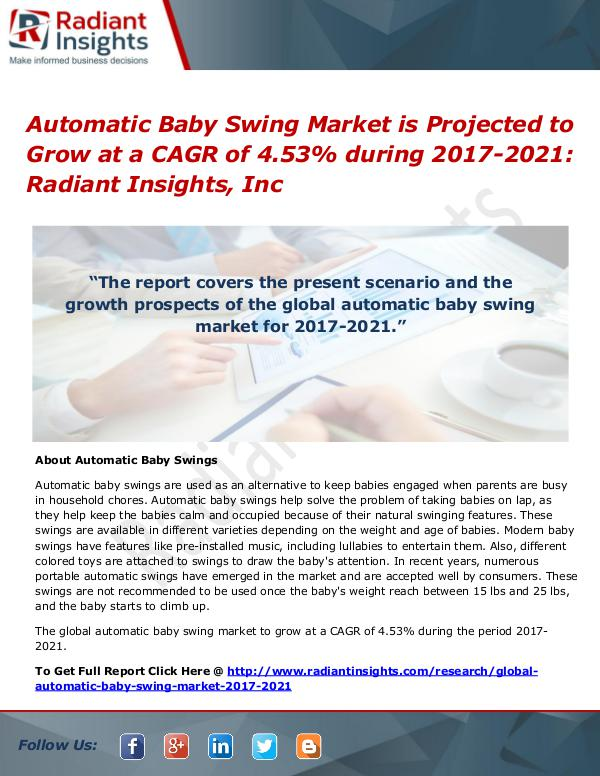 Automatic Baby Swing Market is Projected to Grow at a CAGR of 4.53% Automatic Baby Swing Market 2017-2021