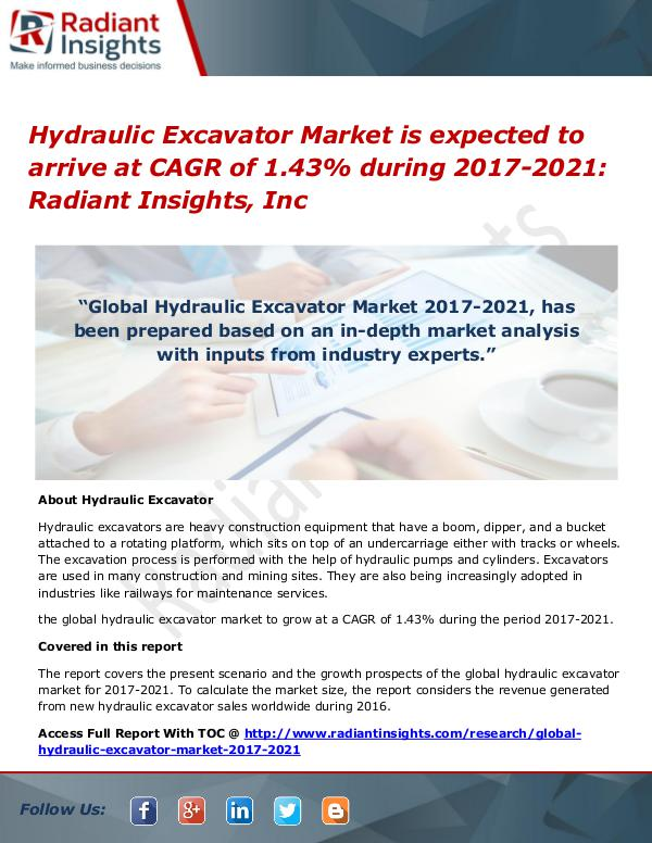Hydraulic Excavator Market is Expected to Arrive at CAGR of 1.43% Hydraulic Excavator Market  2017-2021