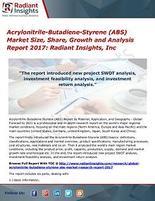 Acrylonitrile-Butadiene-Styrene (ABS) Market Size, Share, Growth 2017