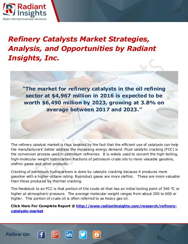 Refinery Catalysts Market Strategies, Analysis, And Opportunities Refinery Catalysts Market Strategies 2017