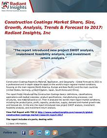Construction Coatings Market Share, Size, Growth, Analysis 2017