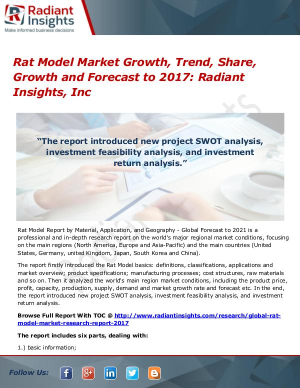 Rat Model Market Growth, Trend, Share, Growth and Forecast to 2017 Rat Model Market Growth, Trend, Share, 2017