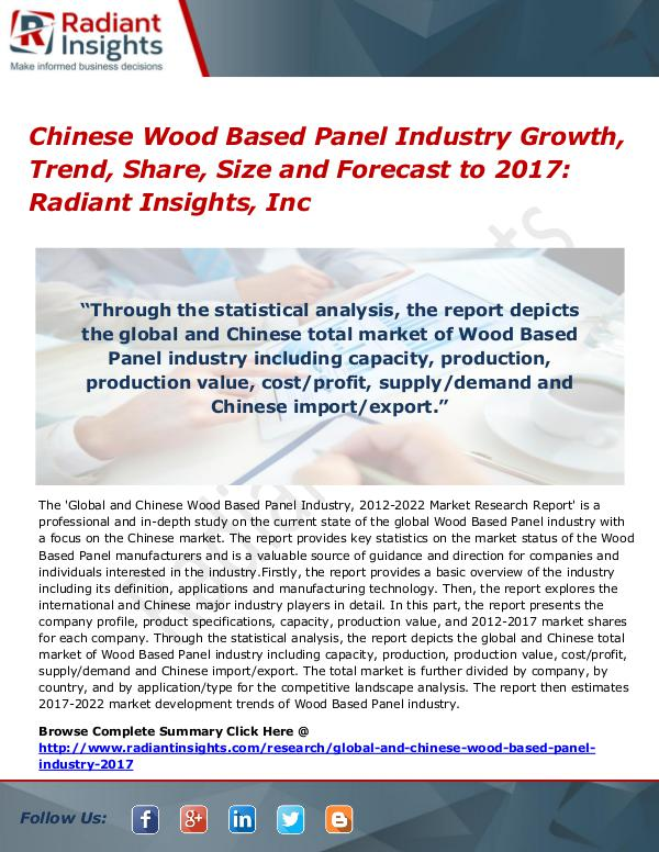 Chinese Wood Based Panel Industry Growth, Trend, Share, Size 2017 Chinese Wood Based Panel Industry Growth 2017