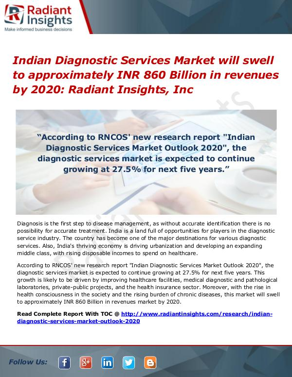 Indian Diagnostic Services Market Will Swell to Approximately INR 860 Indian Diagnostic Services Market 2020