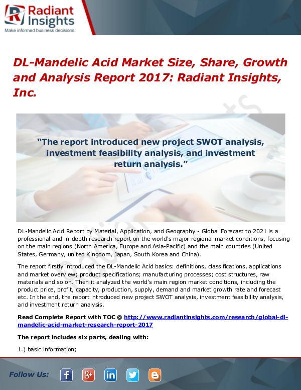 DL-Mandelic Acid Market Size, Share, Growth and Analysis Report 2017 DL-Mandelic Acid Market Size, Share 2017