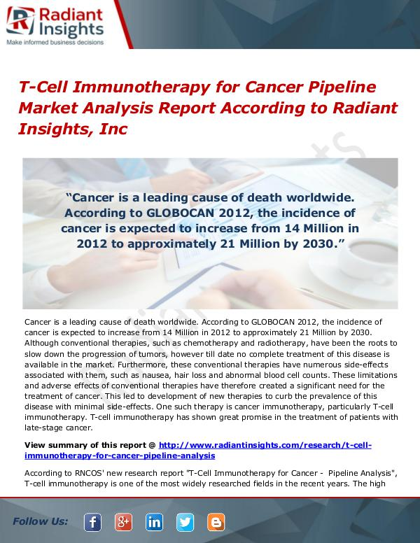 T-Cell Immunotherapy for Cancer Pipeline Market Analysis Report T-Cell Immunotherapy for Cancer Pipeline Market