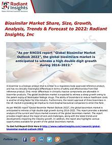 Biosimilar Market Share, Size, Growth, Analysis, Trends 2022