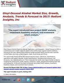 Oleyl-Decanol Alcohol Market Size, Growth, Analysis, Trends 2017