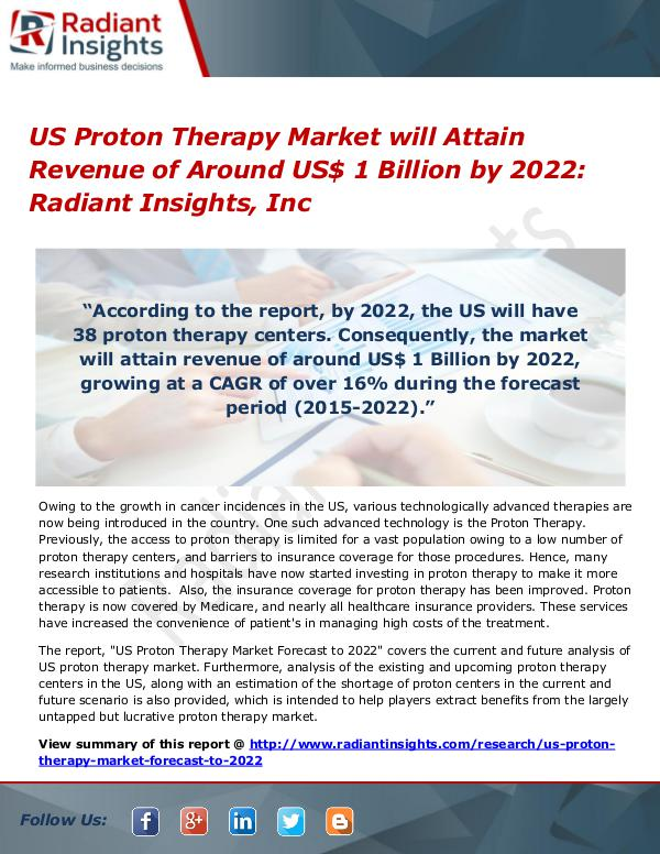 US Proton Therapy Market will Attain Revenue of Around US$ 1 Billion US Proton Therapy Market 2022
