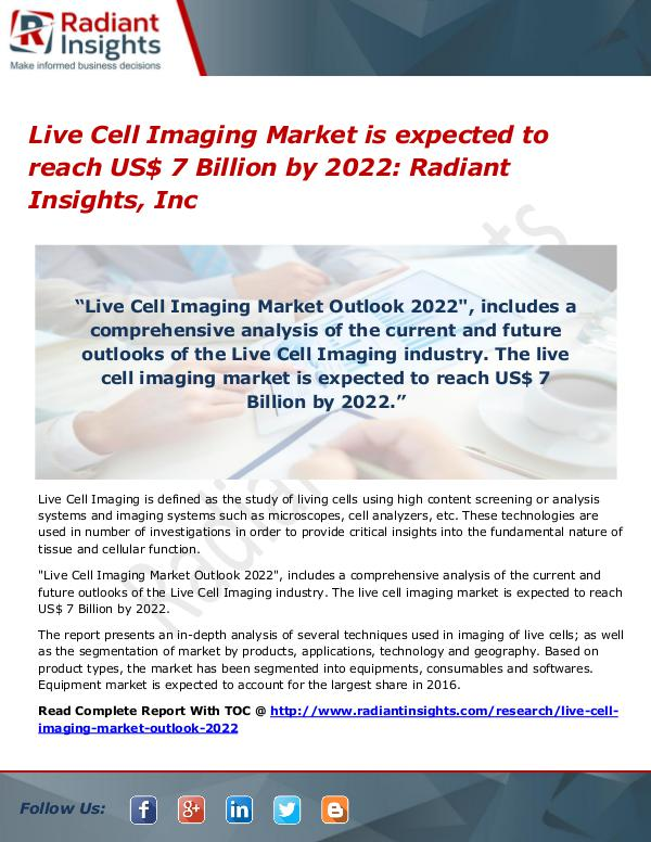 Live Cell Imaging Market is expected to reach US$ 7 Billion by 2022 Live Cell Imaging Market 2022