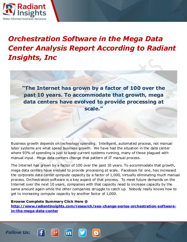 Orchestration Software in the Mega Data Center Orchestration Software in the Mega Data Center