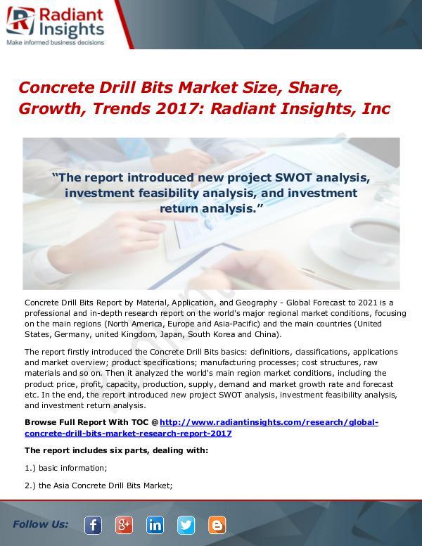 Concrete Drill Bits Market Size, Share, Growth, Trends 2017 Concrete Drill Bits Market Size, Share 2017
