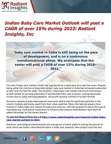 Indian Baby Care Market Will Post a CAGR of Over 15% During 2022