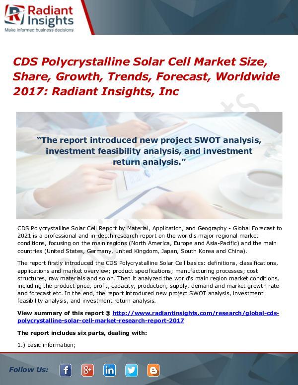 CDS Polycrystalline Solar Cell Market Size, Share, Growth, Trend 2017 CDS Polycrystalline Solar Cell Market 2017
