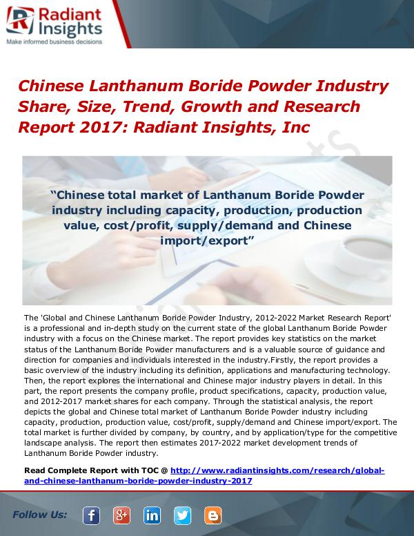 Chinese Lanthanum Boride Powder Industry Share, Size, Trend, 2017 Chinese Lanthanum Boride Powder Industry 2017