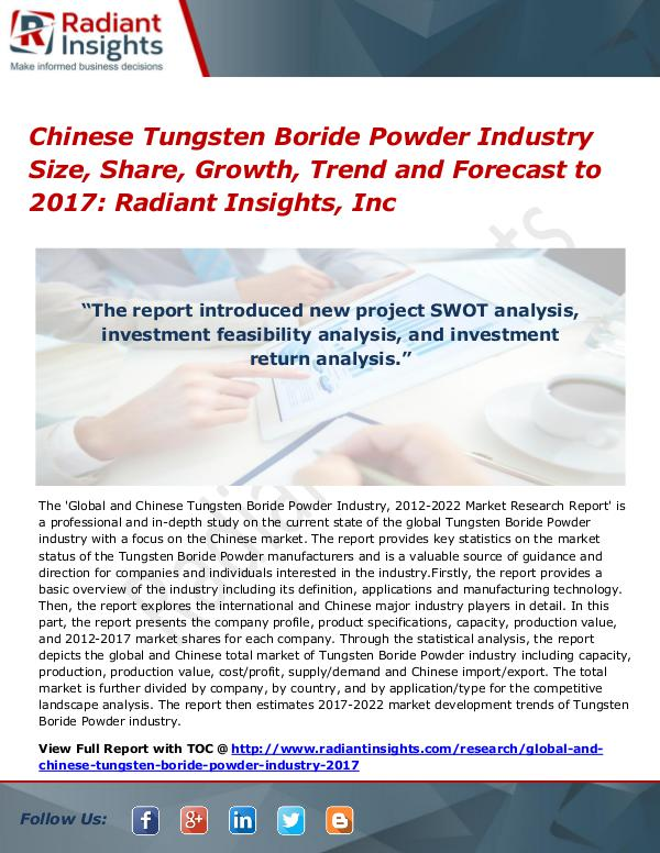 Chinese Tungsten Boride Powder Industry Size, Share, Growth 2017 Chinese Tungsten Boride Powder Industry Size 2017