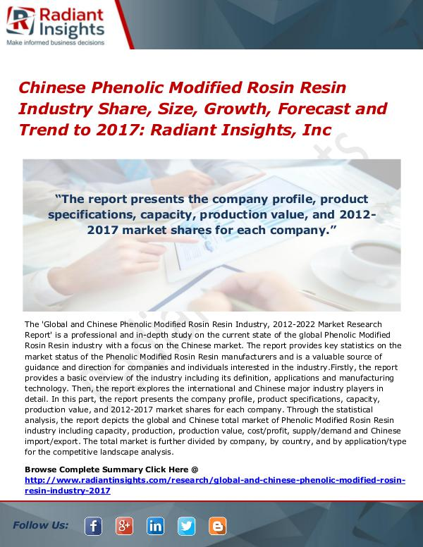 Chinese Phenolic Modified Rosin Resin Industry Share, Size 2017 Chinese Phenolic Modified Rosin Resin Industry2017